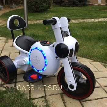 Электромотоцикл Bubble белый (музыка, свет, бардачок)