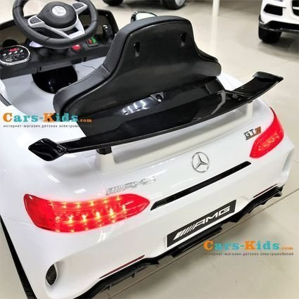 Электромобиль Mercedes-Benz GT AMG (колеса резина, кресло кожа, пульт, музыка)