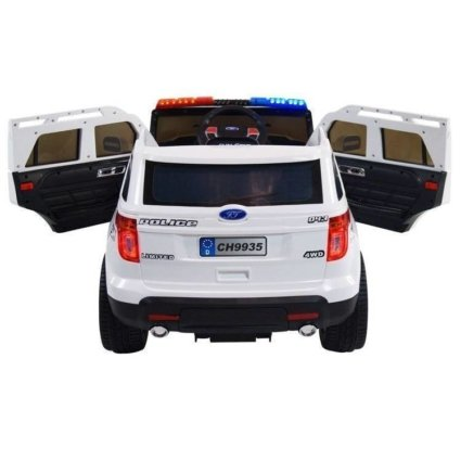 Электромобиль Ford Police белый (полицейский, колеса резина, сиденье кожа, пульт, музыка, рация)